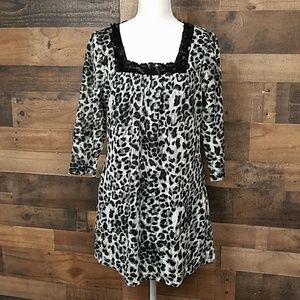 Fashion Bug animal print lace overlay tunic M